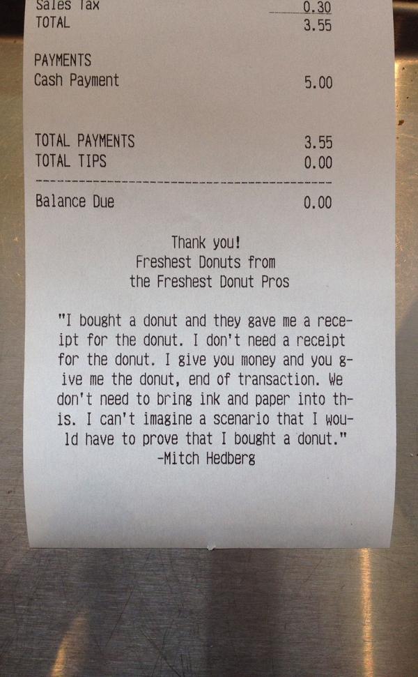 Donut Reciept